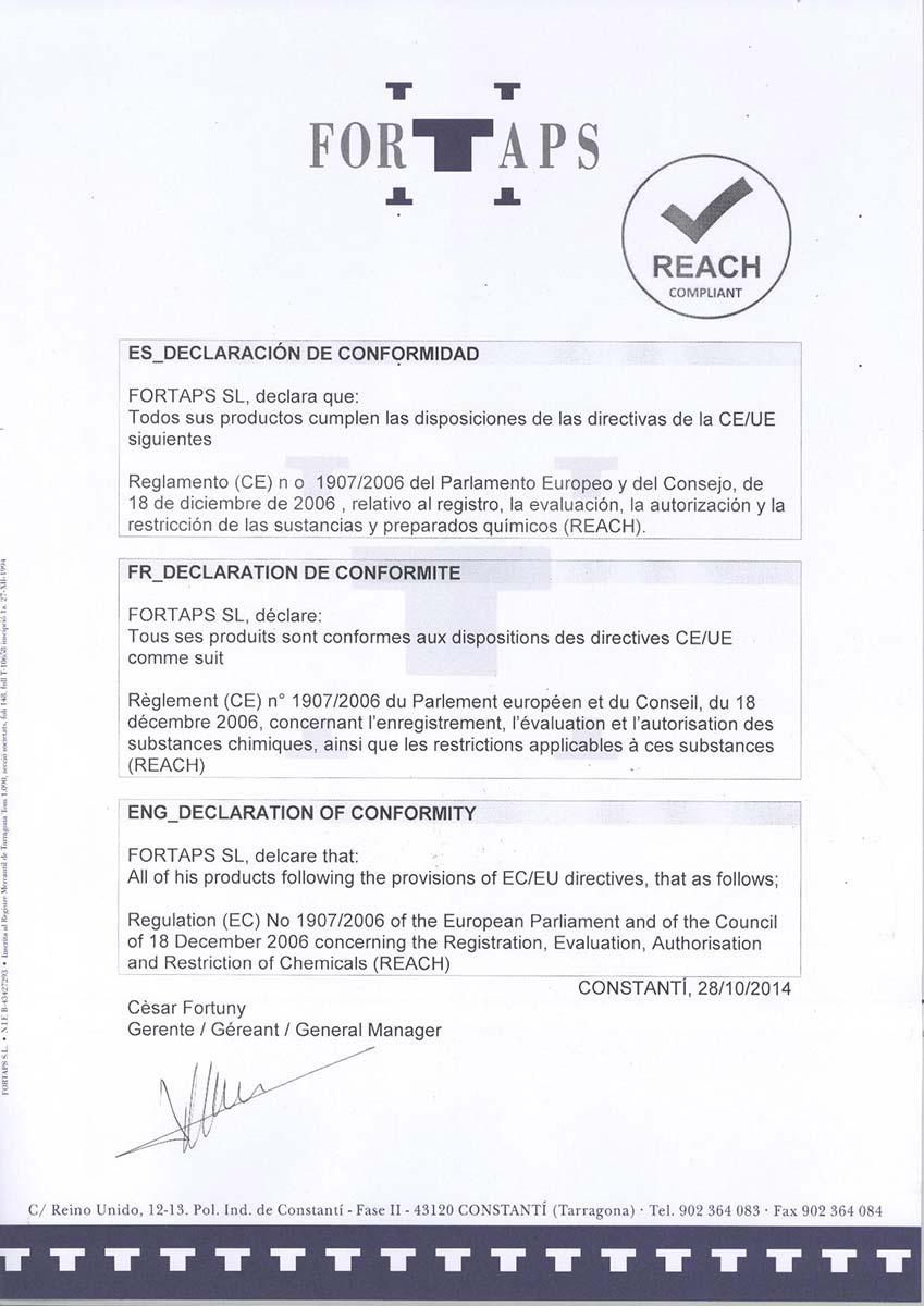 Certificat de qualité REACH FORTAPS