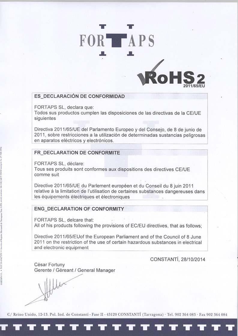 Certificat de qualité ROHS FORTAPS